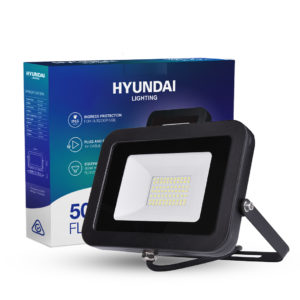 50W LED Floodlight next to packaging